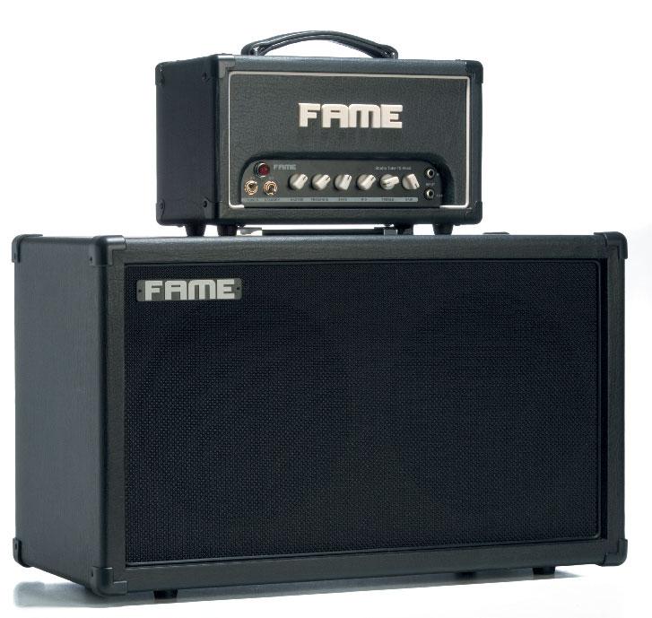Gitarren-Topteil und -Endstufe von Fame, schwarz