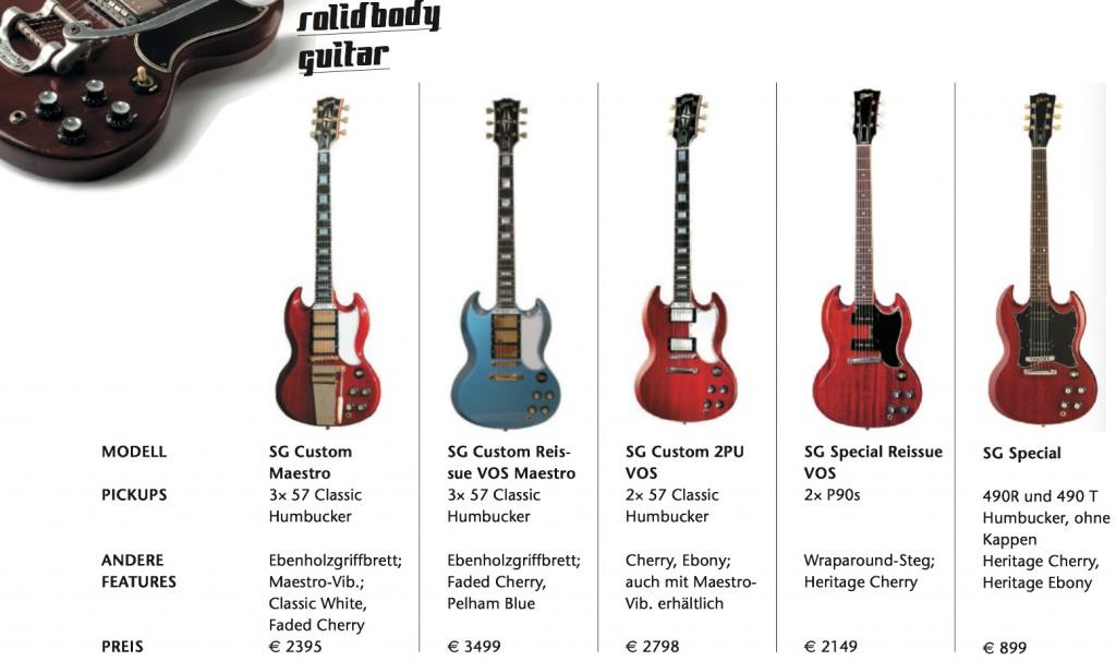 verschiedene Gibson SGs