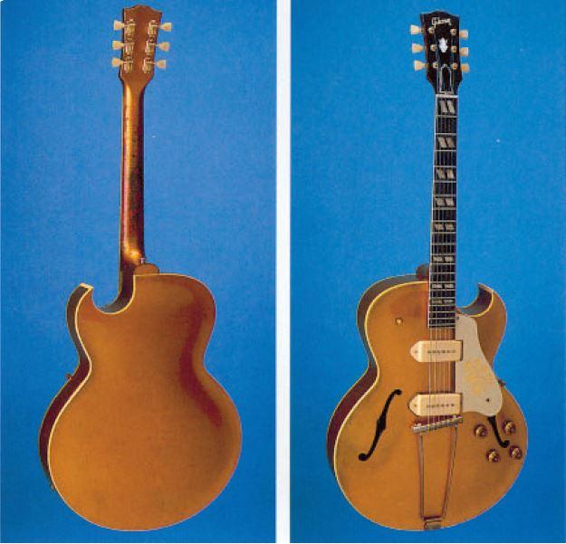 Eine Gibson Goldtop ES-295 von 1956