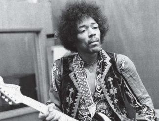 Jimi Hendrix in Schwarzweiß