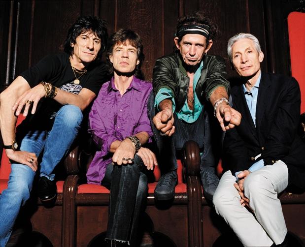 Rolling Stones nebeneinander auf der Bühne