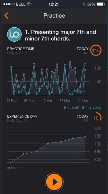Screenshot von Gitarren-App
