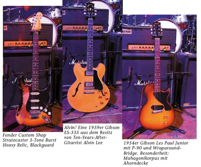Eine Stratocaster, Gibson ES.335 und 1954 Gibson Les Paul Junior.