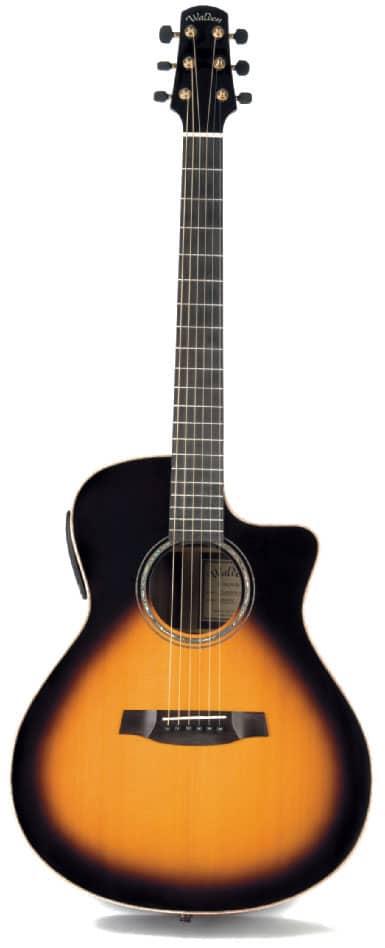 Akustikgitarre Walden Concorda G3030CETB mit Sunburst-Lackierung und Cutaway, stehend