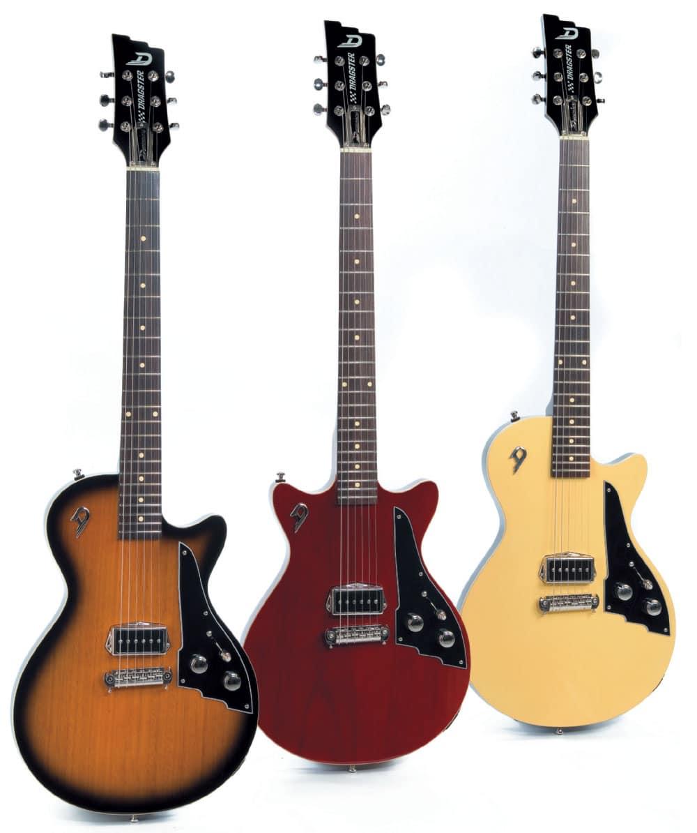 Drei E-Gitarren von Duesenberg, verschiedene Farben und Formen, stehend
