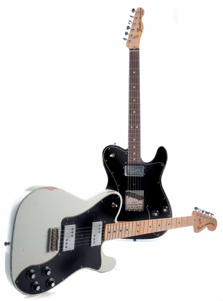 Weiße und schwarze Fender Telecaster, liegend / stehend