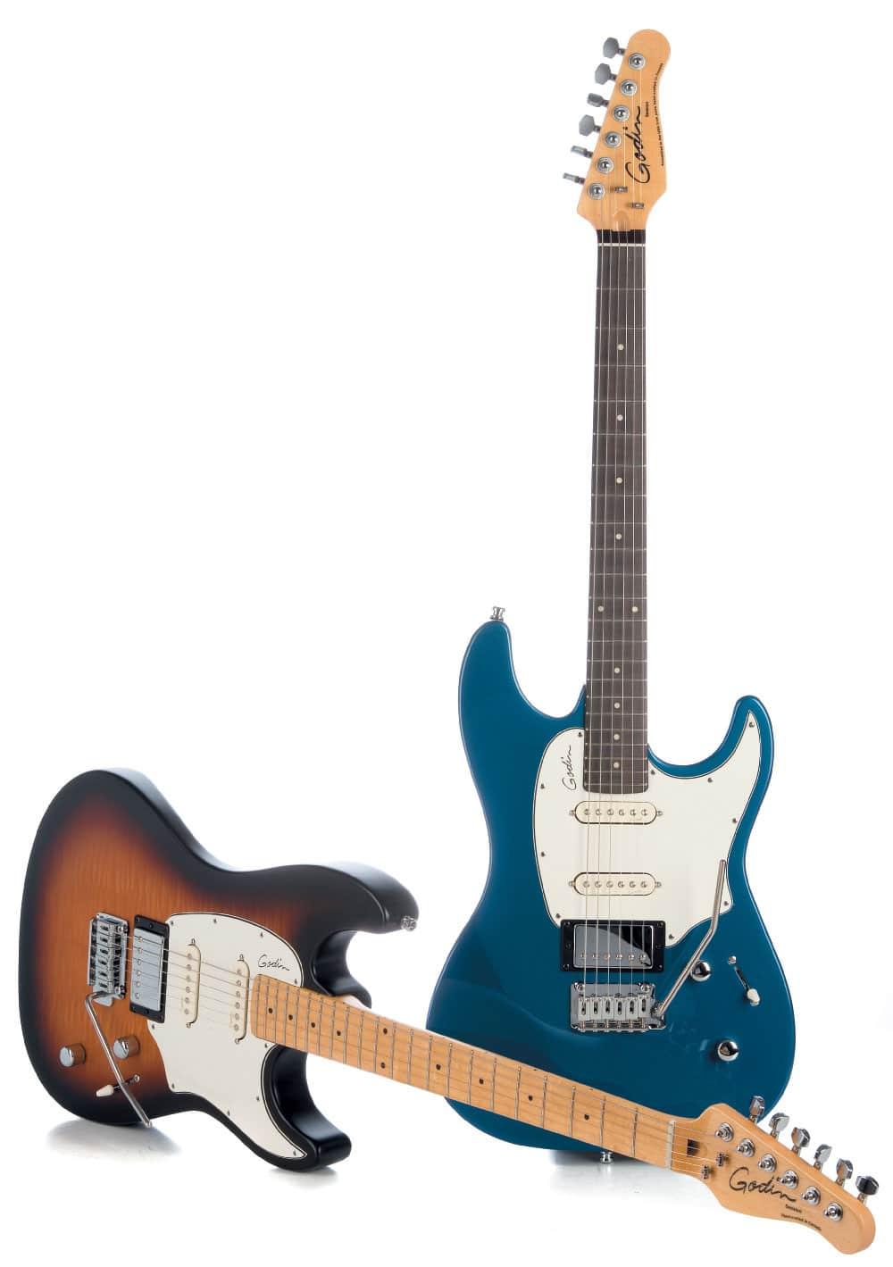 Zwei Godin-E-Gitarren, liegend/stehend