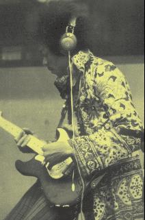 Jimi Hendrix mit Kopfhörern