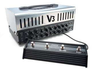 E-Gitarren-Topteil von Carvin mit Fußschaltern, schwarz/silber