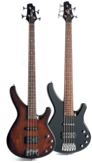 Vier- und Fünf-saitiger Bass von Cort, stehend