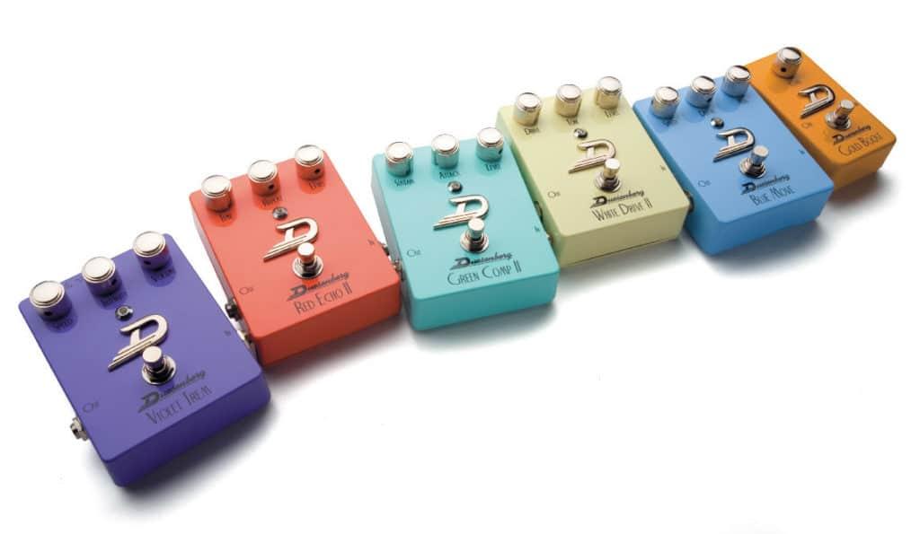 Sechs Effektpedale von Duesenberg in verschiedenen Farben