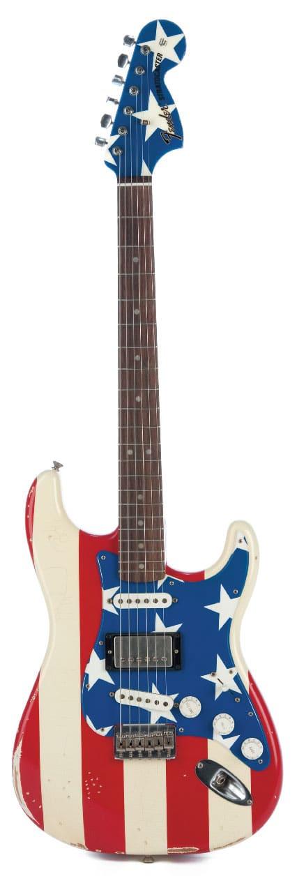 Stratocaster im Stars-and-Stripes-Design, stehend