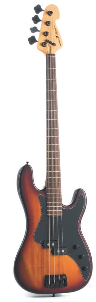 E-Bass von Sandberg, schwarz-braun, stehend