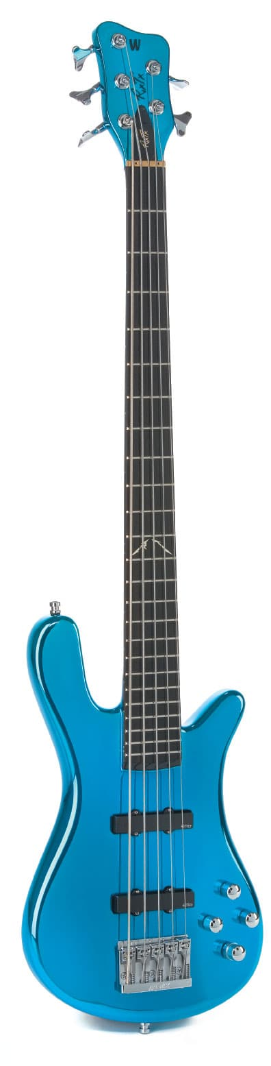 Warwick-Bass. fünfsaitig, blau, stehend
