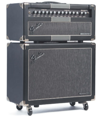 E-Gitarren-Topteil und -Lautsprecher von Fender, schwarz-grau