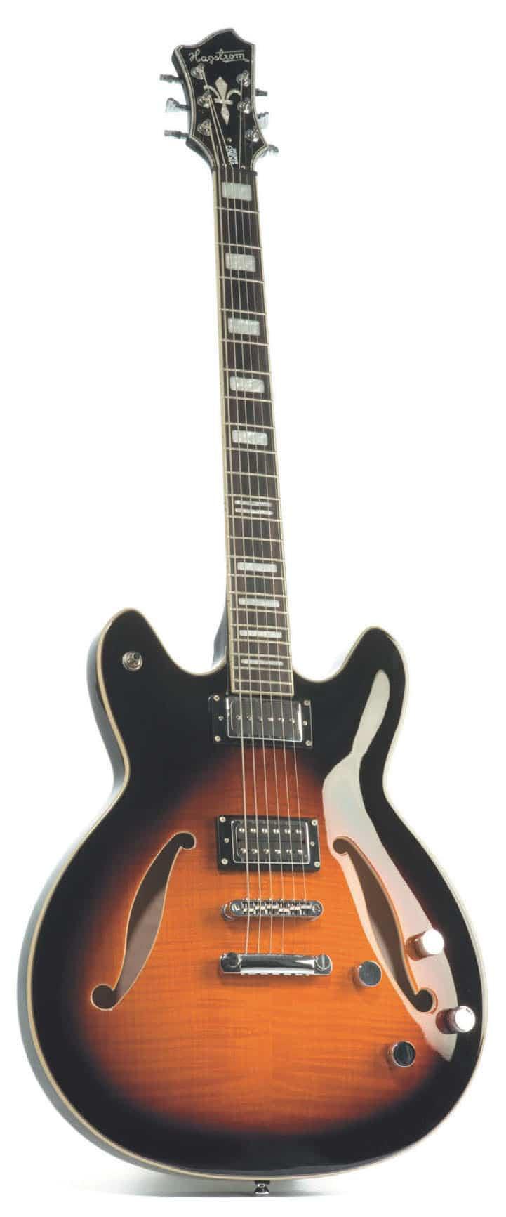 Semisolidbody-E-Gitarre von Hagstrom, stehend