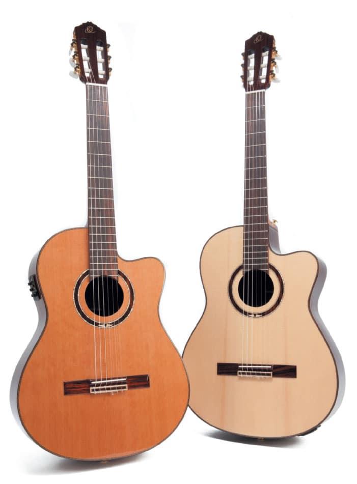 Zwei Konzertgitarren mit Cutaway von Ortega