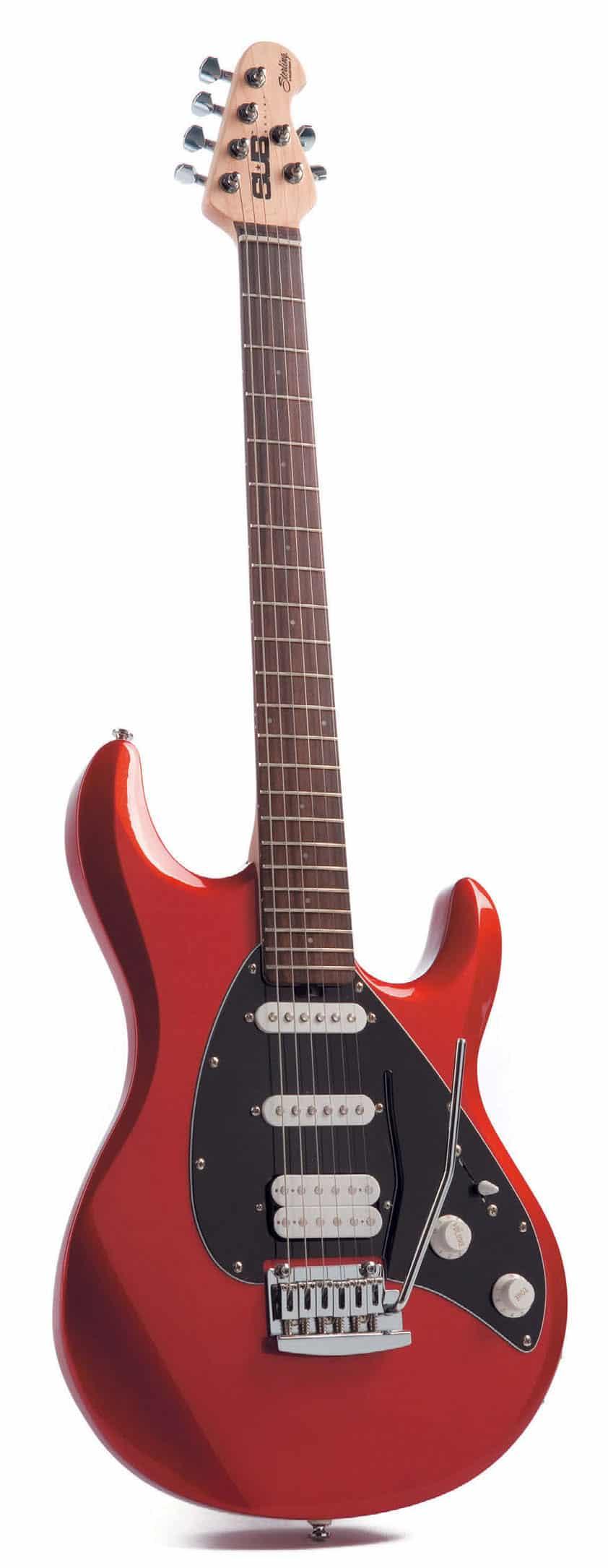 E-Gitarre von Sterling, rot-schwarz, stehend