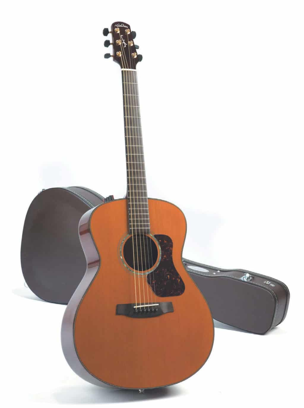 Akustik-Gitarre von Walden, stehend, mit Koffer