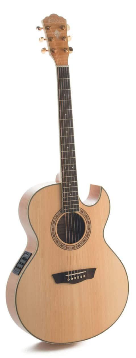 Akustik-Gitarre mit Cutaway von Washburn, stehend