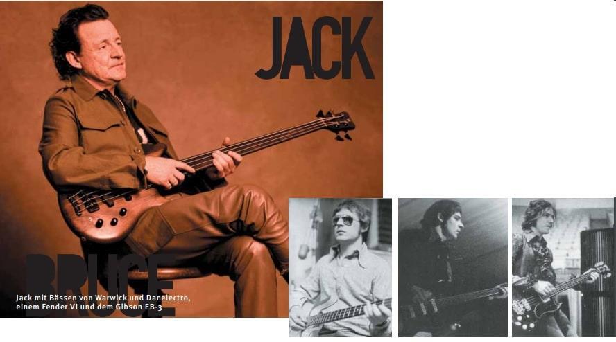 Jack Bruce mit verschiedenen Bässen