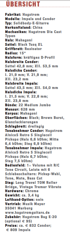 Hagstrom Impala & Condor_profil