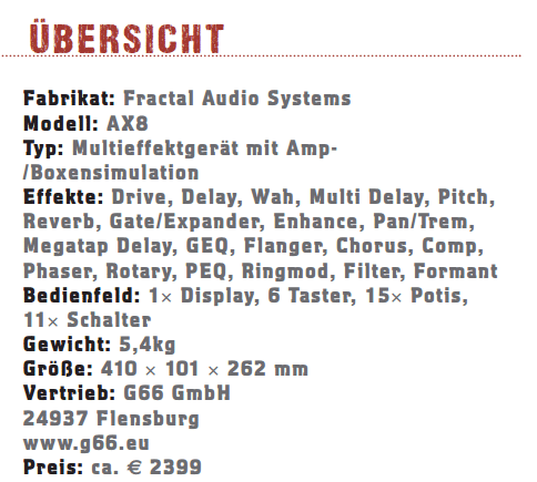 Fractal Audio Systems AX8_profil