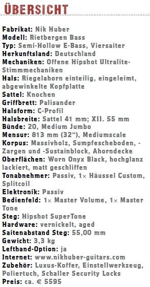 Nik Huber Rietbergen Bass Übersicht