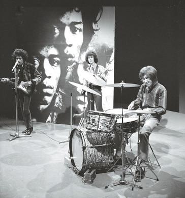Jimi Hendrix mit Band