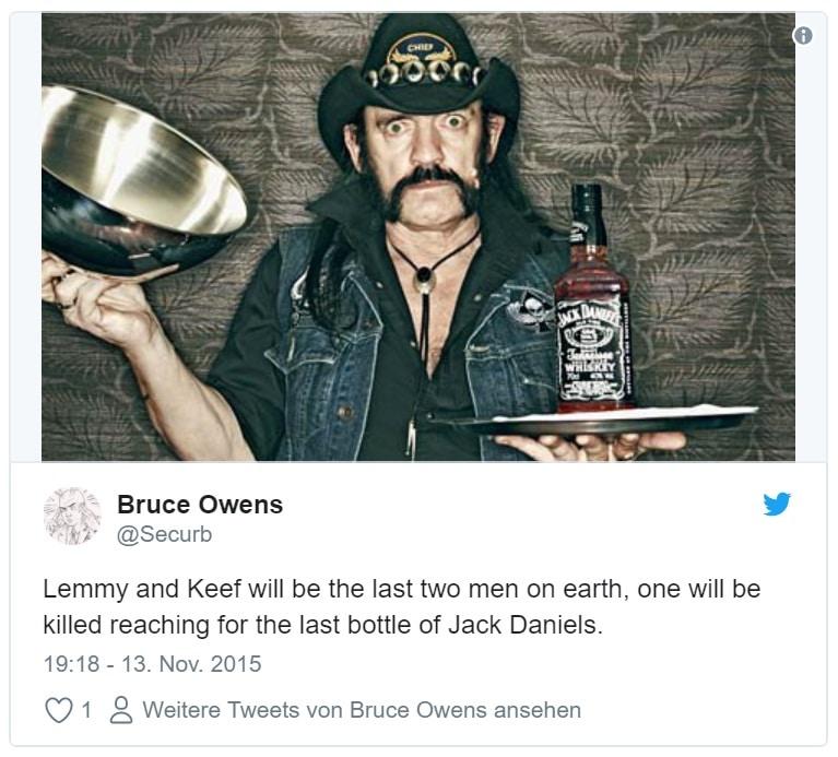 Motörhead-Frontman Lemmy Kilmister und eine Flasche Jack Daniels