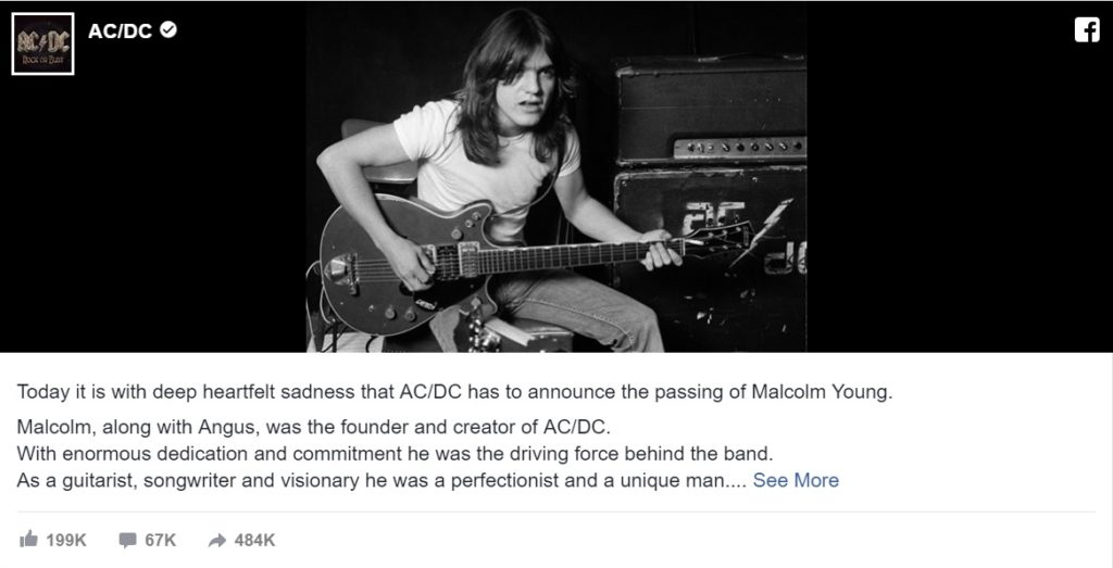 ACDC Facebook Post zu Malcolm Young
