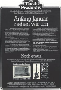 Anzeige im Fachblatt Musik Magazin, Januar 1979.