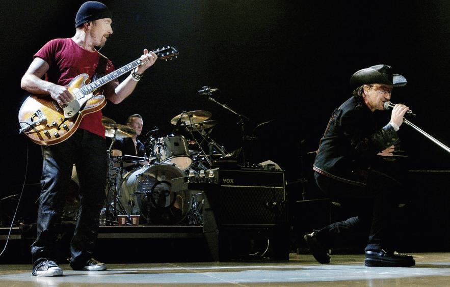 The Edge mit Gitarre