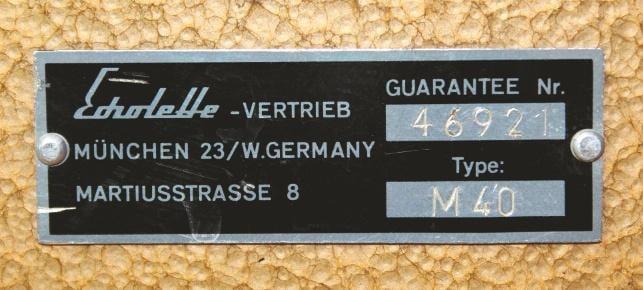 Das Typenschild mit Seriennummer 1964 Klemt Echolette M40