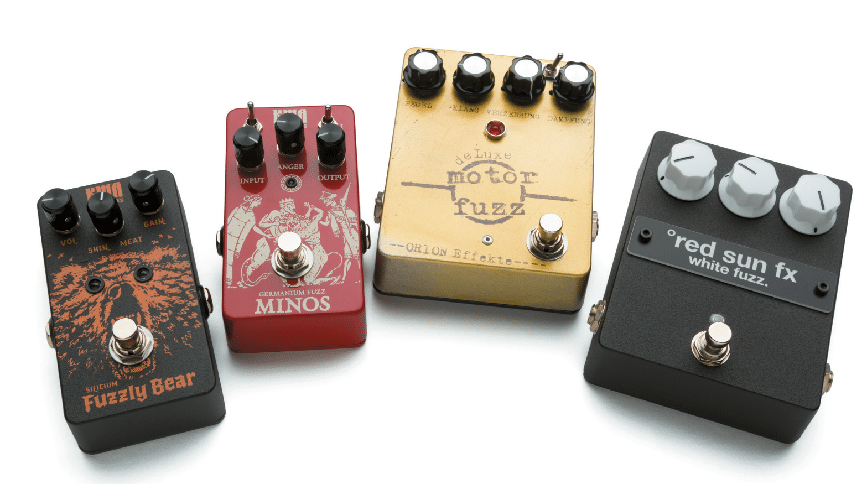 KMA Machines Fuzzly Bear & Minos, Orion de Luxe Motor Fuzz, red sun fx white fuzz