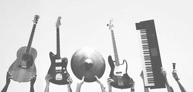 Instrumente einer Band