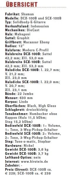 Shaman DCX-100B & SCX-100B Übersicht