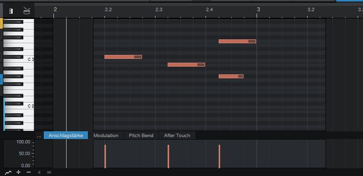 In der Pianoroll lassen sich Töne in einem Rhythmus-Raster anordnen. Wenn ein Drum-Plug-in geladen ist, spielt die Länge der einzelnen Anschläge keine Rolle.