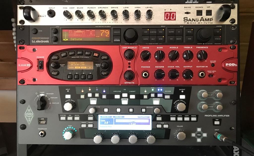 Tech 21 SansAmp RBI, TC Electronic G-Major, Line 6 POD XT Pro, Kemper Profiler